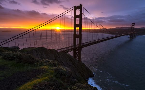 Golden Gate Bridge at Sunset - California